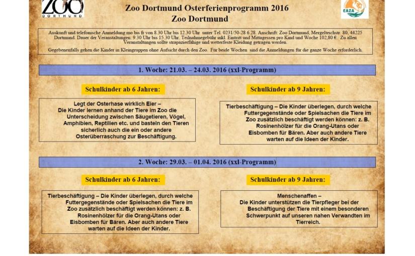 Noch freie Plätze für das Osterferienprogramm im Zoo Dortmund