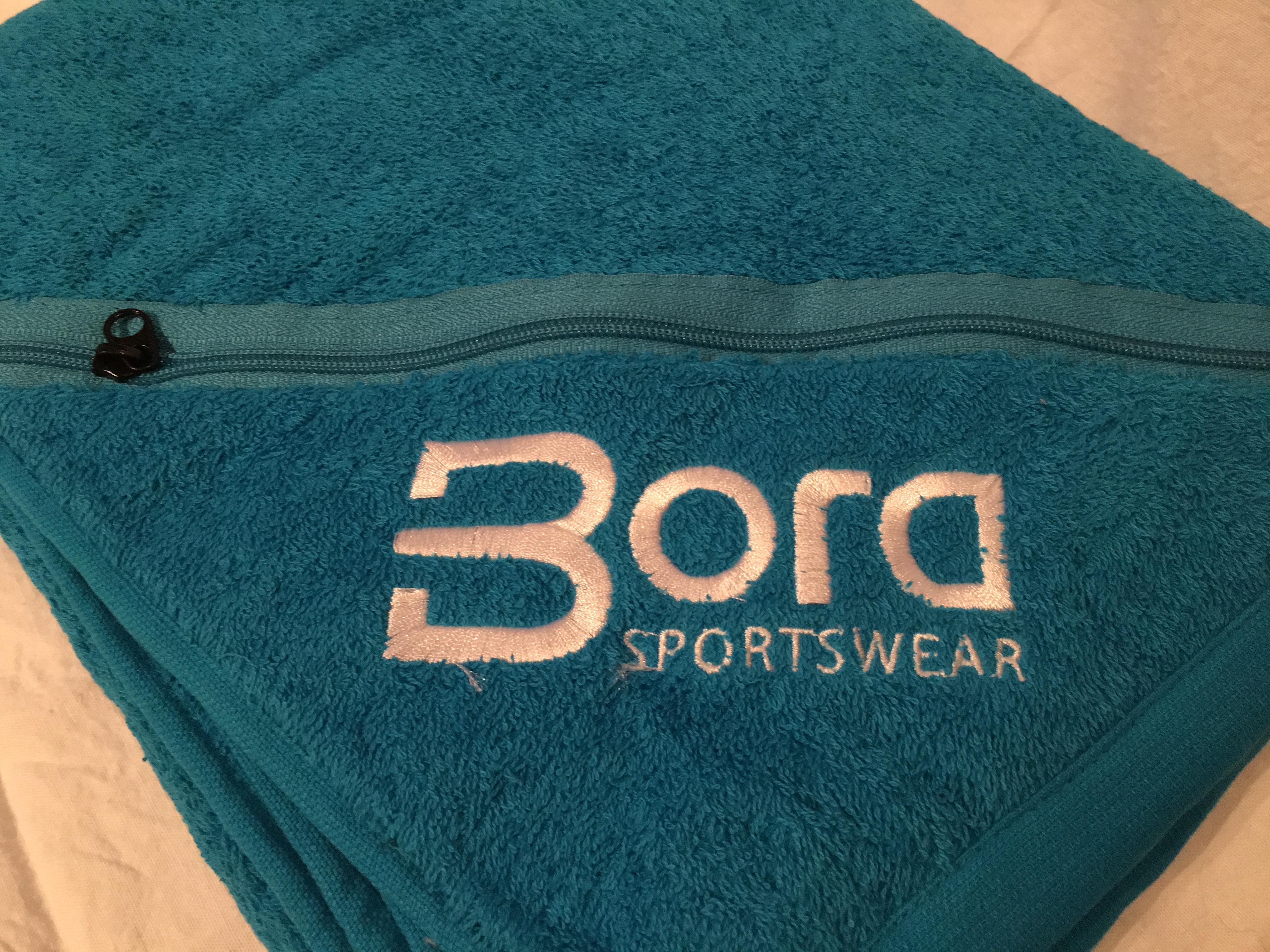 produkttest und gewinnspiel badetuch mit integrierter rei verschluss tasche von bora. Black Bedroom Furniture Sets. Home Design Ideas